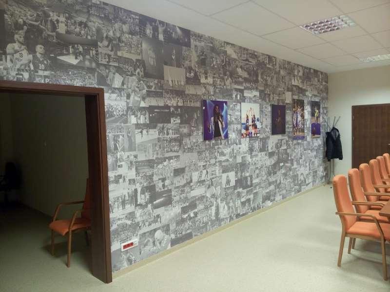 projekt graficzny ściana ze zdjęciami fototapeta